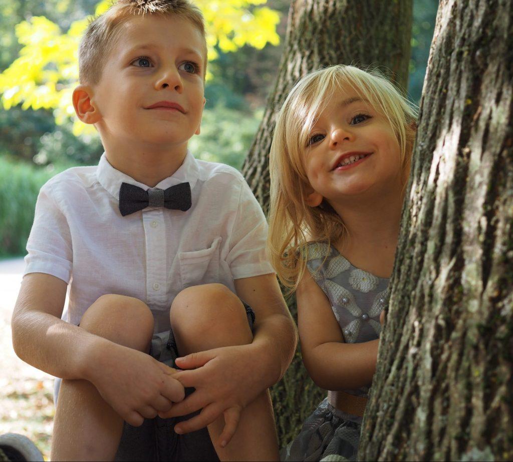 enfants, mariage, nature, arbre, sourire, frère et soeur