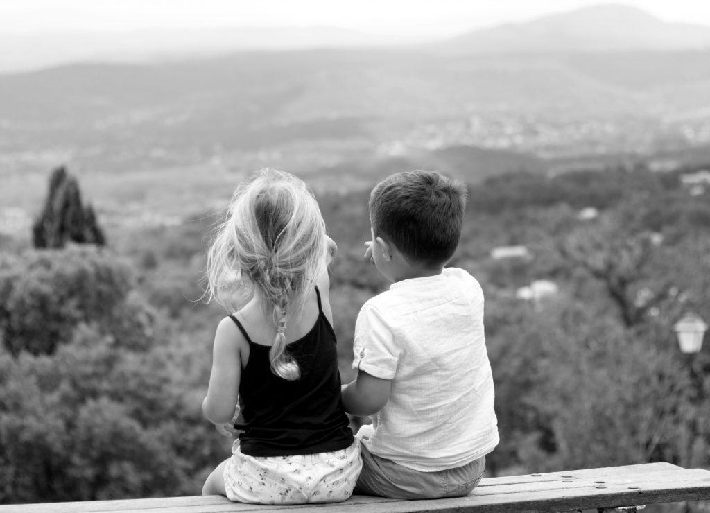 Famille, Enfants, noir et blanc
